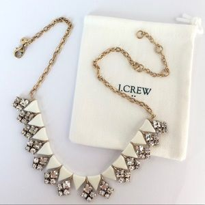 J. Crew. White Clear Crystal Statement Necklace